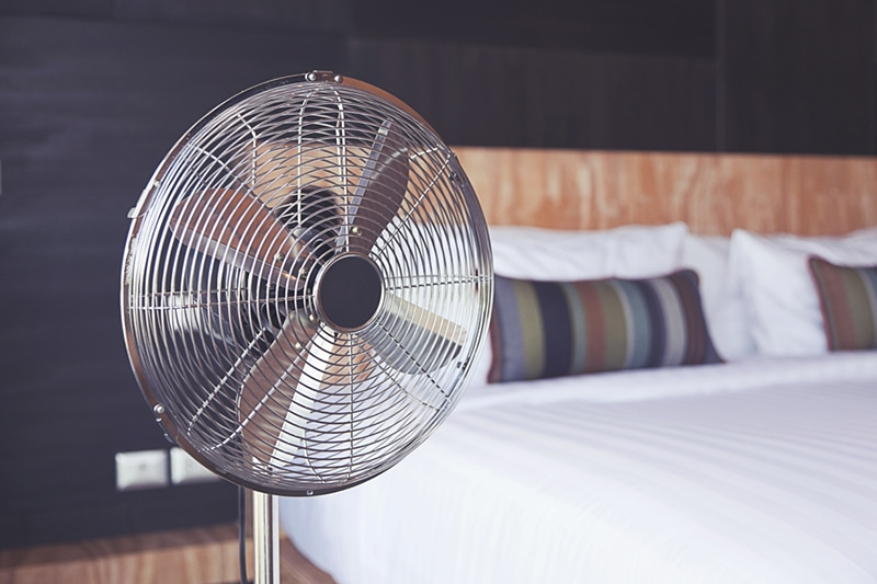 Improve Your Home's Indoor Air Quality, electric fan in bedroom