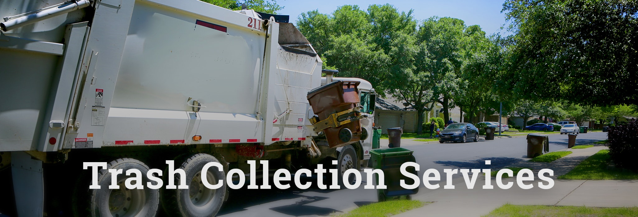Trash Collection Service with a garbage truck picking up trash in a residential neighborhood.